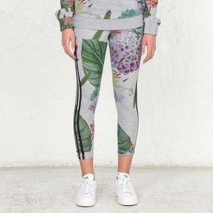 Adidas Originals Floral 3 Stripe Capri Leggings S